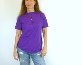Royal Purple Nylon Top with Gold Dome Buttons Vintage 1960s, Size Small Medium     U10