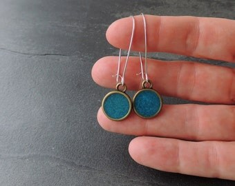 Teal Drop Earrings, Vintage Style Antique Bronze & Resin Drops dangle from Long Silver Earwires, UK (1463)