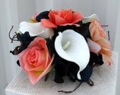 Cake topper 5 piece Wedding cake topper set coral navy blue Cake flowers