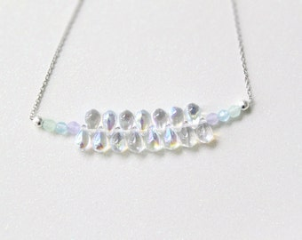 Magical Pastel Rainbow Iridescent Droplets Necklace