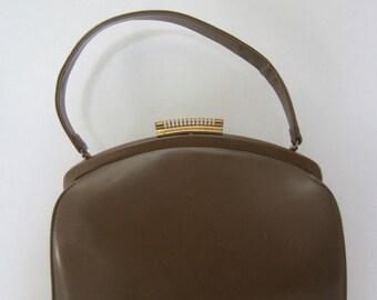 Vintage THEODOR OF CALIFORNIA Handbag, Leather Mid-Century Brown