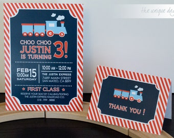 Train Invitation - RED - Printed - Printable - Train Birthday Party - Boy Birthday - First Birthday - Thank you card // TRA-01