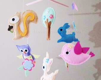 """Baby Mobile - Nursery Mobile - Running Bunny Felt crib Mobile - """"Forest Happy Time"""" Mobile  (Custom Color Available)"""