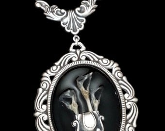 Gothic Love in Death Cameo Lily Necklace in black and silver mouse bone flowers by Dr Brassy Steampunk