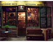 Shakespeare & Co. at Night - Paris bookstore sign bookshelves chalkboards Antiquarian Books reading library den study home decor 8x12, 10x15