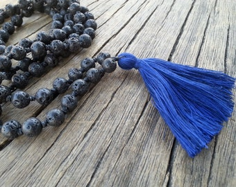 Knotted Lava Mala Necklace, Tassel Mala Necklace, Black Lava Mala Beads Long Tassel Necklace, Yoga Meditation Beads, Santorini Mala Necklace