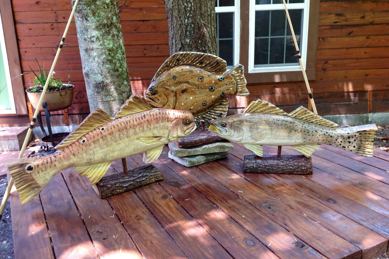Custom wooden trophy fish chainsaw carving mounted by