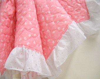 Pink Baby Blanket, Infant Bedding, New Baby Blanket, Ruffled Blanket, Baby Shower, Pink Photo prop