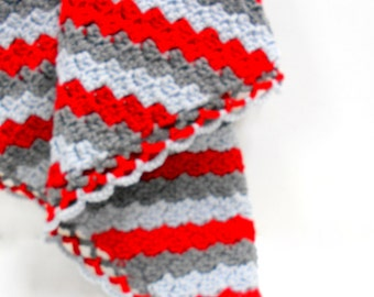 Crocheted Baby Blanket in Red & Gray, Diagonal Striped Baby Blanket, Travel Size Infant Blanket