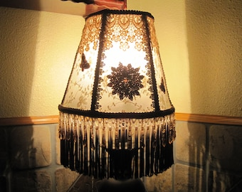 Half Lamp Shade in Cream and Brown Sequin Appliques Amber Beaded Fringe - FREE SHIPPING!