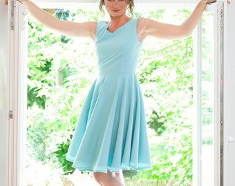 Bridesmaid dress, mint green dress, vintage inspired dress, custom made bridesmaid dress, 50s dress