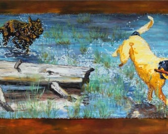 Catch Me If You Can, Large Original Dogs Running Painting