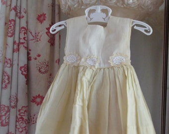 Vintage Girl Or Doll Dress Sunshine Yellow Ruffled Embroidered Flowers Applique By Youngland