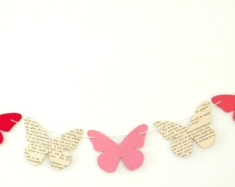 Butterfly bunting, paper garland, pink butterfly banner, garland, eco-friendly, nursery decor