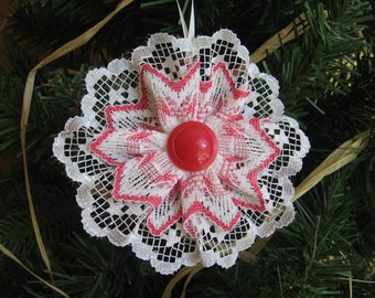 Red and White Lace Ornament, Christmas Tree Ornament, Red White Lace, Tree Decoration, Christmas Tree, Red Christmas Decor SnowNoseCrafts