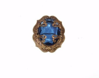 Vintage Blue Stone Metal Filigree Brooch Victorian Revival 1940s Pin Gold tone Jewelry Cobalt Blue