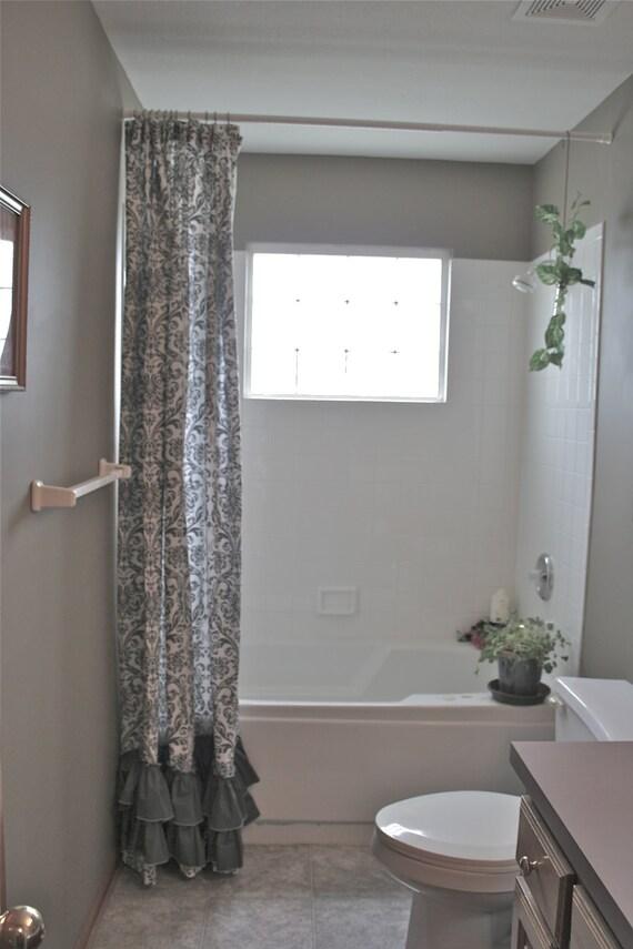 Shower CurtainGrey Damask Dark Grey By ShadesUpandCo On Etsy