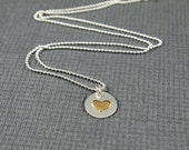 Heart Necklace Silver, Two Tone Pendant in Silver and Brass Loveheart