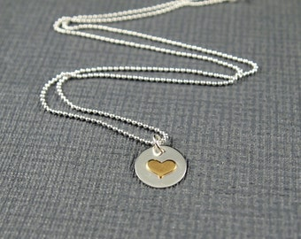Silver Heart Pendant on chain -  Loveheart on Silver Chain - Small Heart Necklace - Hart Jewellery - Silver Heart Necklace