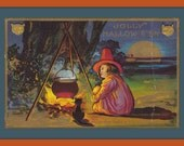 Jolly Hallow E'en- 1910s Antique Postcard- May the Fates Be Good to You- Classic Halloween- Black Cat- Bubbling Cauldron- Paper Ephemera
