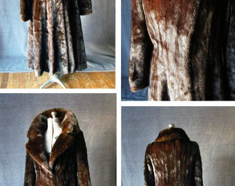 Vintage, Exquisite, Full Length, Mahogany, Mink Sweep Coat, Womens Size: 8