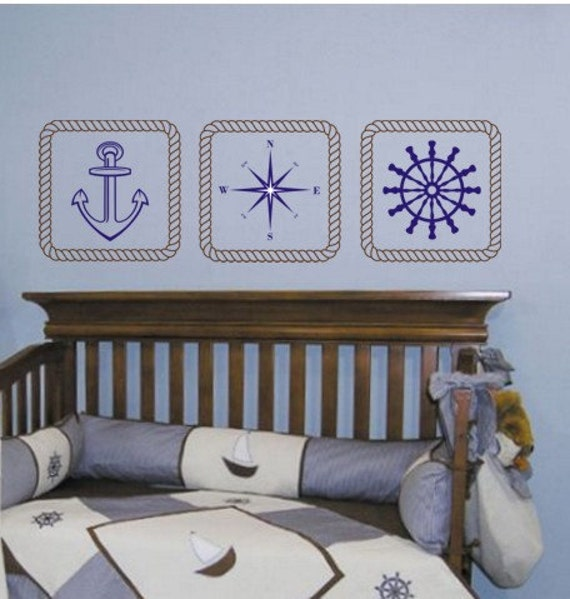 Nautical Wall Decals Rope Frames Anchor Compass Ships Helm Stickers Boys Wall Decals Decals Wall Nautical Stickers