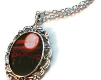 Stonehenge Necklace Full Moon Necklace Black And Red