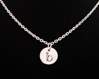 Mom Necklace, Hand Stamped Initial Necklace, New Mom Gift Necklace, Hand Stamped Necklace with Kid Initial Necklace, Monogram Mommy Necklace