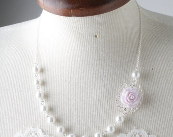Lilac Bridesmaid necklace, pearl necklace, light purple purple wedding jewelry, rose necklace, bridesmaid gift, lavender,  purple, lilac