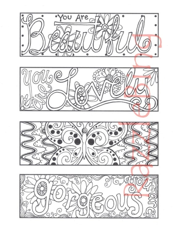 DIY Bookmark Printable Coloring Page-Zentangle inspired
