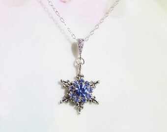 Snowflake Necklace - Sapphire Blue Rhinestone Snowflake Necklace Winter Wedding Birthday Gift Idea Prom Party