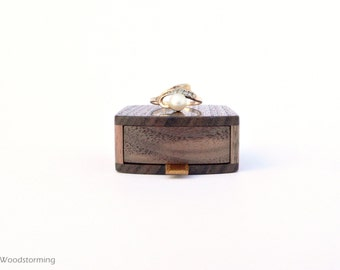 Engagement ring box - earring box - slim, elegant, handmade of walnut, original design - Made to order