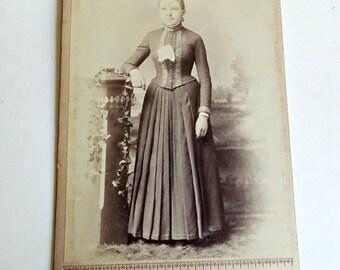 Victorian Photograph on Board Woman Portrait Vintage Black White Picture