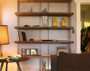 book shelf from reclaimed wood and recycled steel - bookcase, shelving - modern industrial - wild wood - four to seven (4 to 7) shelf option