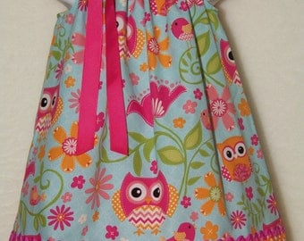 OWL  Dress / Pink Aqua & Orange Polka Dots / Cute / Girly / Birthday / Newborn / Infant / Baby / Girl / Toddler / Custom Boutique Clothing