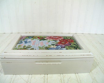 Vintage Wooden Jewelry Box Padded Tapestry Lid - Retro Shabby Chic Wood Chest with Large Mirror & Dusty Rose Mauve Velveteen Interior Chest