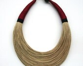 Natural, Red and Black Statement Necklace,Fiber Necklace,African jewelry,Minimalist Necklace