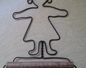 Primitive Wire Towel Holder or Tissue Holder Wall Hanging