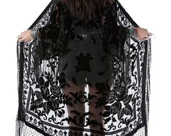 Moon Chaser Brocade Velvet Burnout Fringe Kimono