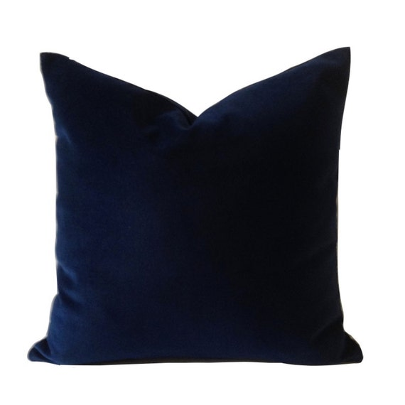 Navy Blue Throw Pillow Covers : Navy Blue Cotton Velvet Pillow Cover Decorative Accent Throw