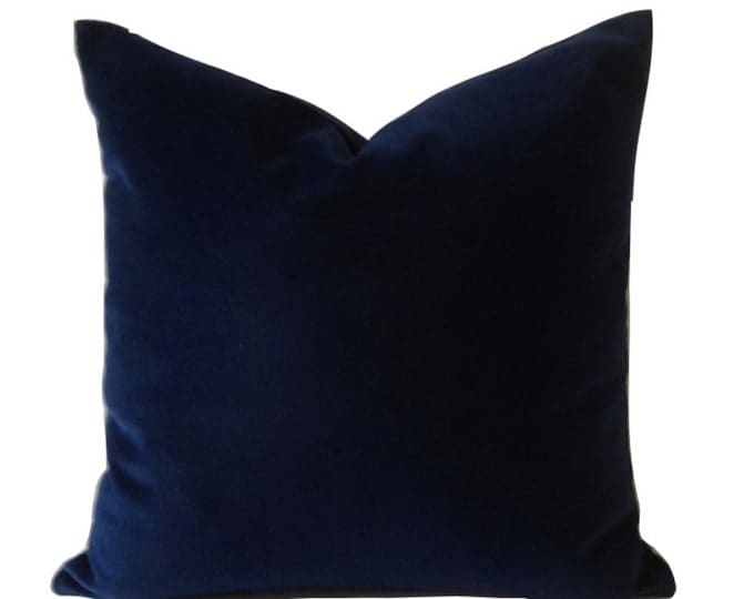 Navy Blue Cotton Velvet Pillow Cover - Decorative Accent Throw Pillows - Invisible Zipper Closure - Knife Or Pipping Edge -16x16 to 26x26