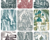 Fortresses, Churches and Cathedrals. Set of 9 Vintage Postcards, Drawings by Shutikov - 1974, Soviet Artist Publ.