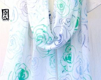 Silk Shawl Hand Painted, Emerald Green Roses Spring Scarf, Large Silk Scarf, White Silk Scarf, Silk Chiffon Scarf. 20x88 inches.