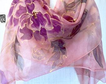 Pink Silk Shawl, Silk Scarf Handpainted, Silk Painting Art, Vintage Rose Pink and Dark Plum Kimono Peony, Chiffon, Takuyo, Made to order