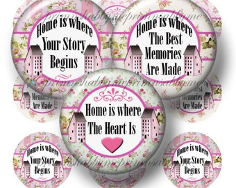 Home Sayings, 1 Inch Circles, Bottle Cap Images, Digital Collage Sheet, Printable Bottle Cap, (RC1)  Pendant Trays, Magnets, Cabochons