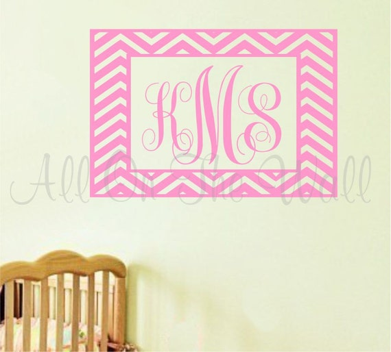 Chevron Wall Decal Initials Decal Girl Bedroom Wall Decal Bedroom Decor Kids Wall Art Personalized Wall Decal Vinyl Wall Lettering Nursery