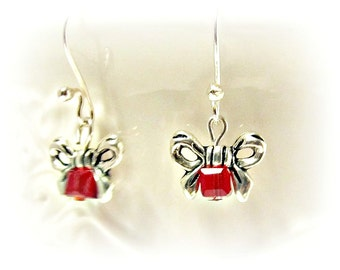 Petite Red Crystal Bow Earrings - Christmas, Feminine, Gifts for Her, Gifts Under 25, Cute, Holidays, Party