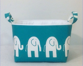 "Med Storage Bin 10""x10""x7"" Organizer, Basket,  White Elephant on Turquoise  with Solid Color Lining"