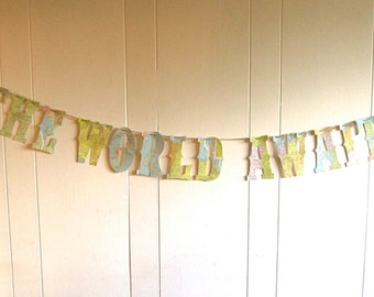 The World Awaits,Travel Theme,Map Banner,  Map Theme, Custom Banner, Nursery Banner, Vintage Maps, Map, Banner, Travel