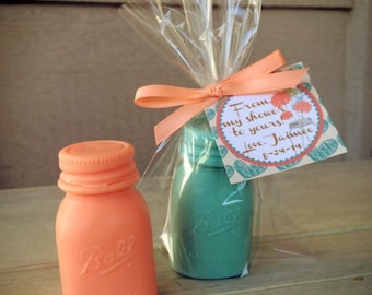25 Mason Jar Soap Favors - Bridal Shower, Rustic Wedding Mason Jar, Mason Favors, Birthday Party, Baby Shower, Chic, Barn, Whimsical, Ball
